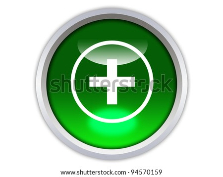 plus symbol on green glossy button isolated over white background - stock photo