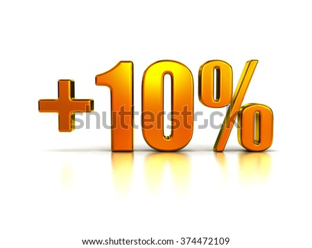 Plus Ten Percent Sign in Gold Metal on White Background