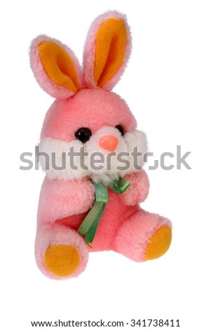 Plush bunny rabbit is isolated on white with Clipping Path - stock photo