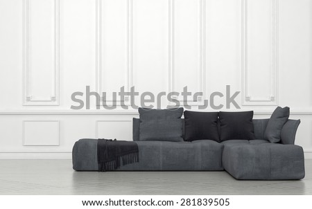 Plush Grey Sectional Sofa with Cushions and Throw in Sparsely Decorated Room with White Walls and Wainscotting. 3d Rendering. - stock photo