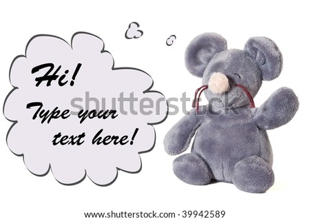 Plush mouse and copyspace isolated on white - stock photo