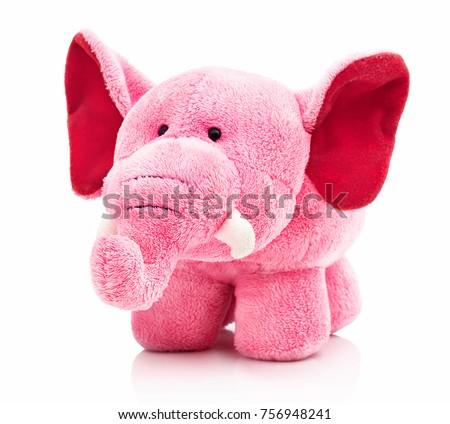plush pink elephant toy little kidsの写真素材 ロイヤリティフリー