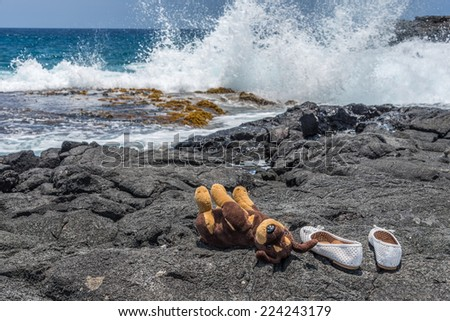 Plush toy dog and shoes on lava rock at beach, behind splashing water in the Pacific ocean. - stock photo
