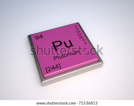 Plutonium chemical element of the periodic table with symbol Pu - IUPAC - stock photo