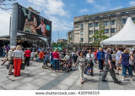 PLYMOUTH, ENGLAND - JUNE 3, 2016 Flavour Fest is biggest outdoor food festival in south-west England. Local farmers and artisan food makers display their products.