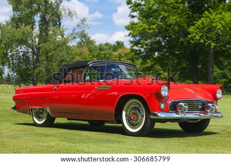 PLYMOUTH - JULY 26: A classic Ford Thunderbird on display July 26, 2015 at the Councors D'Elegance in Plymouth, Michigan. - stock photo