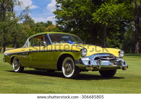 PLYMOUTH - JULY 26: A classic Studebaker President on display July 26, 2015 at the Councors D'Elegance in Plymouth, Michigan. - stock photo