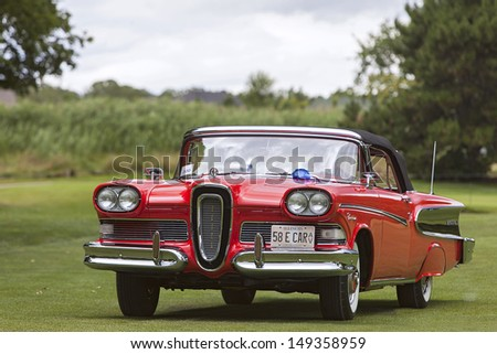 PLYMOUTH - JULY 28 : A 1958 Edsel on display at the Concours D'Elegance  July 28, 2013 in Plymouth, Michigan. - stock photo