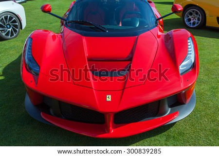 PLYMOUTH - JULY 26: A Ferrari LaFerrari on display July 26, 2015 at the Councors D'Elegance in Plymouth, Michigan. - stock photo