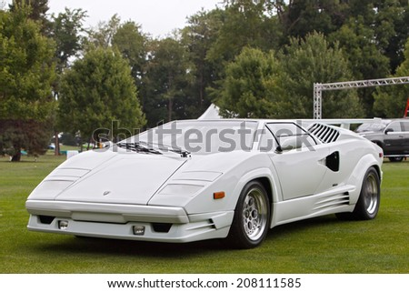 PLYMOUTH - JULY 27: A Lamborghini Countach on display July 27, 2014 at the Concours D' Elegance Plymouth, Michigan. - stock photo