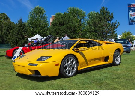 PLYMOUTH - JULY 26: A Lamborghini Diablo on display July 26, 2015 at the Councors D'Elegance in Plymouth, Michigan. - stock photo