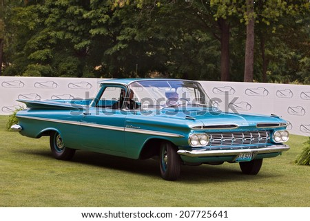 PLYMOUTH - JULY 27: A vintage Chevy El Camino on display July 27, 2014 at the Concours D' Elegance Plymouth, Michigan.