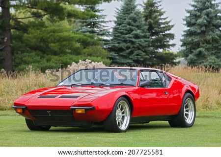 PLYMOUTH - JULY 27: A vintage sports car on display July 27, 2014 at the Concours D' Elegance Plymouth, Michigan.