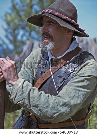 PLYMOUTH, MA - JULY 24: An English colonist at Plimoth Plantation July 24, 2009 in Plymouth, MA. The plantation features the recreation of an English village in 1627.