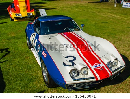 """PLYMOUTH, MI/USA - JULY 27: A 1968 Corvette Sunray DX """"Rebel"""" Racer on display at the Concours d'Elegance of America, on July 27, 2012 in Plymouth, Michigan. - stock photo"""