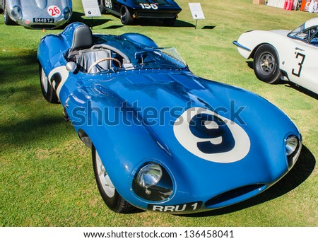 PLYMOUTH, MI/USA - JULY 27: A 1955 Jaguar D-Type on display at the Concours d'Elegance of America, on July 27, 2012 in Plymouth, Michigan. - stock photo
