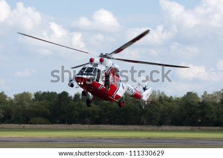 PLZEN, CZECH REPUBLIC - AUGUST 25: Helicopter W-3A Sokol in  Air Show at airfield in Plzen - Line, Czech Republic on August 25, 2012