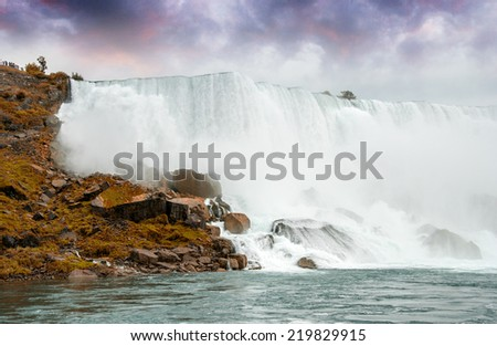 pMagnificence of Niagara Falls. Wonderful colors of nature. - stock photo