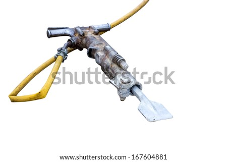 pneumatic jack hammer isolated on white background - stock photo