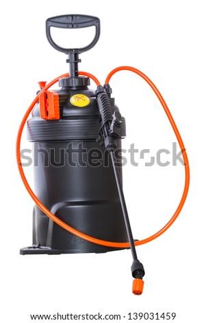 Pneumatic pesticide sprayer isolated on white background - stock photo
