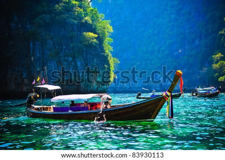 Po da boat, Andaman Sea,Thailand - stock photo