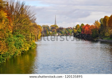 Po river in Turin with the Mole Antonelliana on the background. - stock photo