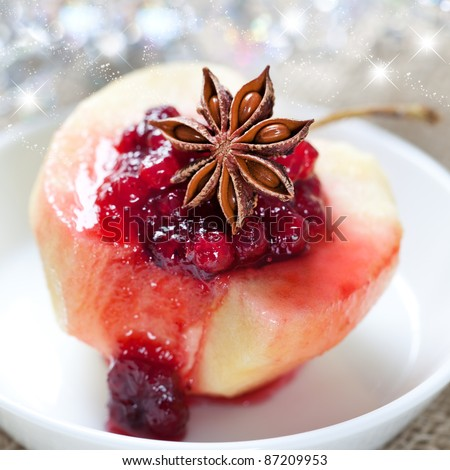 poached apple with cranberry sauce and anise
