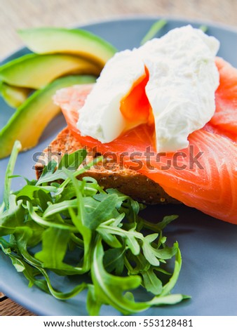 Poached Egg with Smoked Salmon and Avocado on Toast.