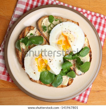 Poached eggs on toast with watercress. - stock photo