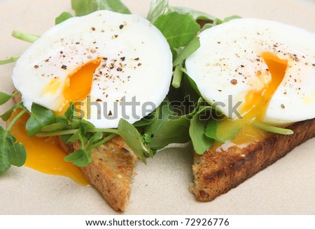 Poached eggs with watercress on toast - stock photo