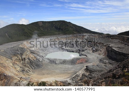 Poas Volcano Crater in Costa Rica - stock photo