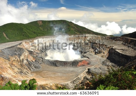 Poas volcano National Park of Costa Rica - stock photo