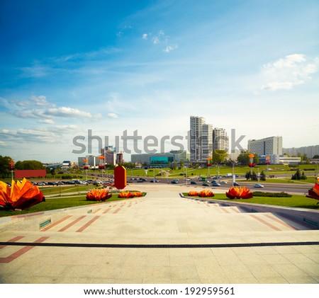 Pobediteley Avenue in Minsk, Belarus. View of Central Street (Winners Avenue). Toned Photo. - stock photo