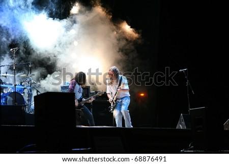 POBLADURA DE ALISTE - AUGUST 15: Popular Spanish singer Rosendo performs onstage at his solo concert in Pobladura de Aliste on August 15, 2007 in Zamora, Spain - stock photo