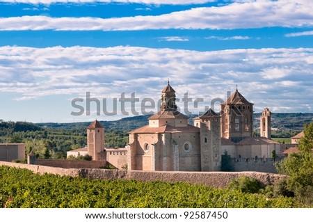 Poblet monastery on summer day, Spain - stock photo