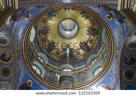 POCHAEV, UKRAINE - OCT 05: Very well preserved frescoes murals on dome and vaults of religious themes in Holy Dormition Cathedral in Pochayiv Lavra on October 05, 2012 in Pochaev, Ukraine.