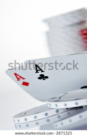 Pocket Aces and poker chips