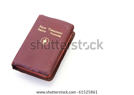 Pocket Bible on a white background with copy space - stock photo