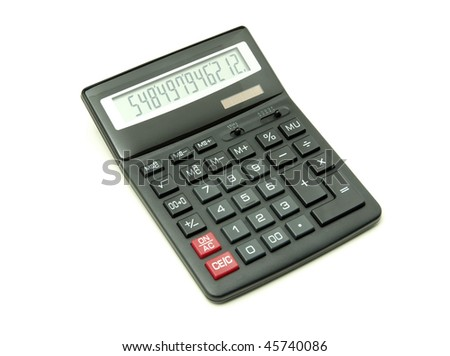 pocket calculator on a white background