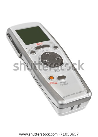 Pocket digital dictaphone isolated on white background