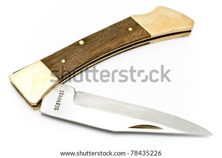 Pocket knife isolated on white - stock photo