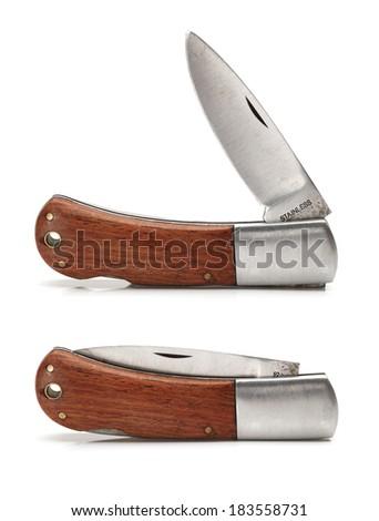 Pocket knife on white background  - stock photo