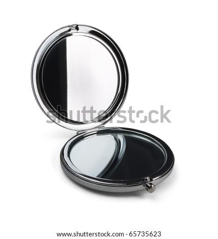 Pocket makeup mini mirror isolated on white - stock photo