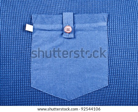 Pocket men's blue shirt close up