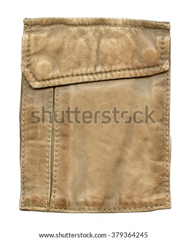 pocket of light brown leather jacket isolated on white