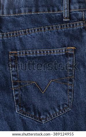Pocket on jeans - stock photo