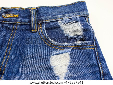 Pocket on jeans texture on white background