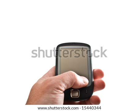 Pocket PC in hand isolated on white - stock photo