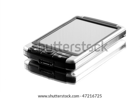 Pocket PC isolated on white background with reflection