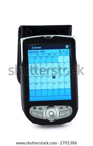 Pocket pc with Calendar scheduler window. Clipping path included. - stock photo